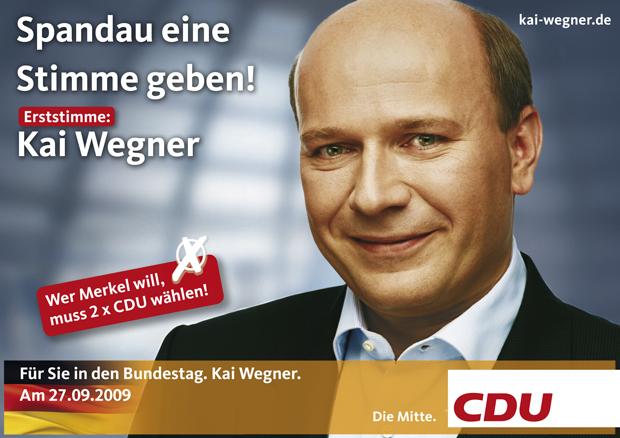 Abschlussplakat CDU Wegner 2009